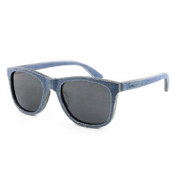 Blue Denim Wooden Sunglasses - Unisex