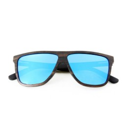 Ebony Laminated Wooden Sunglasses with Ice Blue Lens - Men