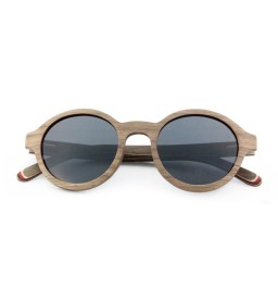 Round Walnut Wooden Sunglasses - Ladies