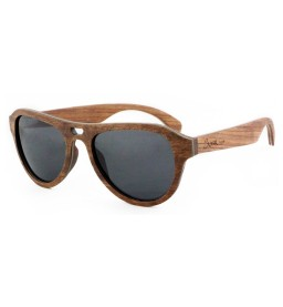Rose Laminated Wooden Sunglasses with Grey Lens - Unisex