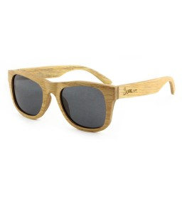 Grey Polarized Pear Laminated Wood Sunglasses - Unisex